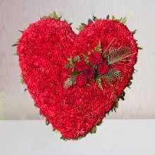Corazón Funerario clavel Rojo para tanatorio