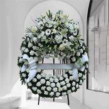 Corona difuntos clavel blanco para tanatorios envío urgente
