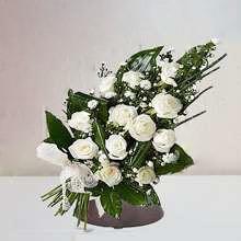 Ramo funerario 12 rosas blancas para tanatorio envío urgente